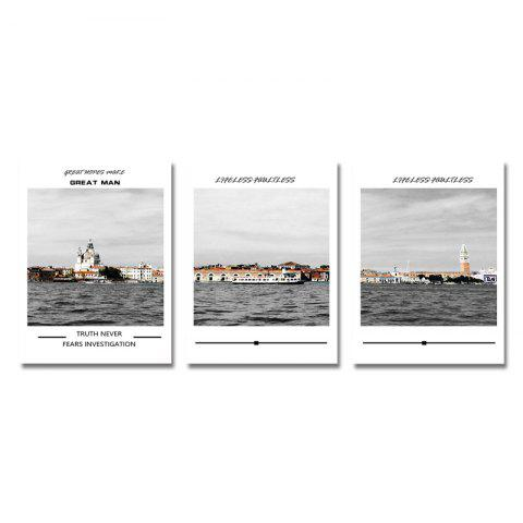 DYC 3PCS Urban Architecture and Sea Landscape Print Art - multicolor