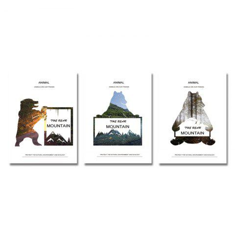 DYC 3PCS Animal Silhouette Scenery Print Art - multicolor