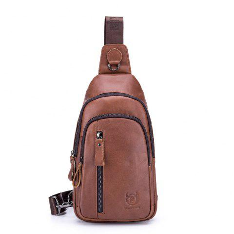 First Layer Cowhide Men's Casual Sports Chest Bag Shoulder Chest Bag - CHESTNUT