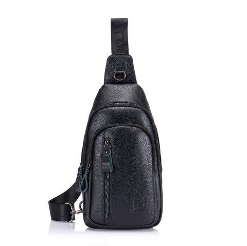 First Layer Cowhide Men's Casual Sports Chest Bag Shoulder Chest Bag - MIDNIGHT