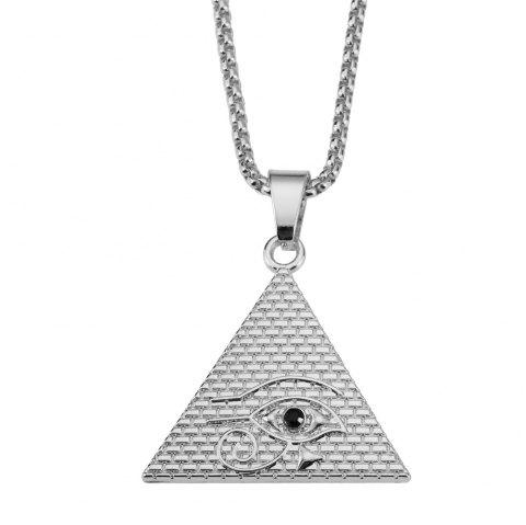 NYUK Eye of Horus Pyramid Necklace Pendant Jewelry - SILVER