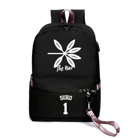 Same Style Casual Women'S College Wind Canvas Backpack - multicolor A