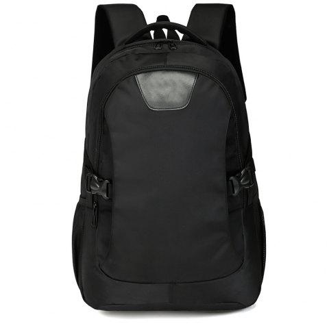Men'S Cool Black Backpack Travel High School Student Bag - BLACK