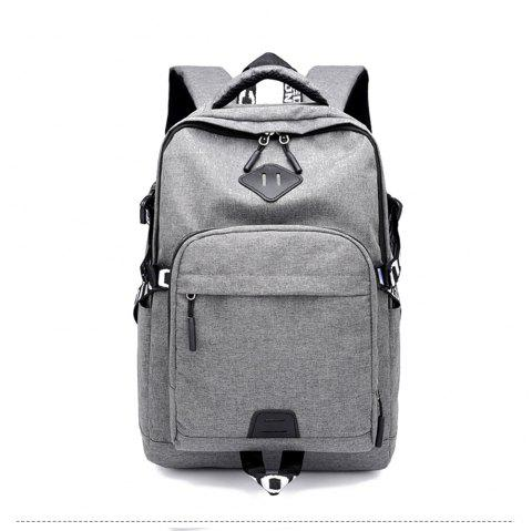 Usb Charging Oxford Cloth Men'S and Women'S Leisure Travel Outdoor Backpack - GRAY CLOUD