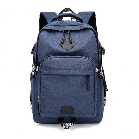 Usb Charging Oxford Cloth Men'S and Women'S Leisure Travel Outdoor Backpack - MIDNIGHT BLUE