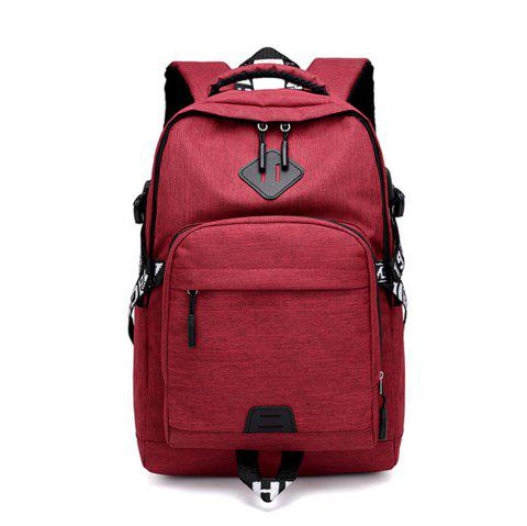 Usb Charging Oxford Cloth Men'S and Women'S Leisure Travel Outdoor Backpack - CHERRY RED