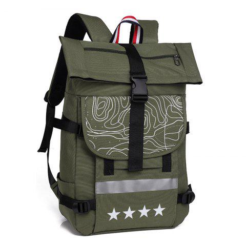 Backpack Solid Color Messenger Bag Outdoor Large Capacity Mountaineering Bag - ARMY GREEN