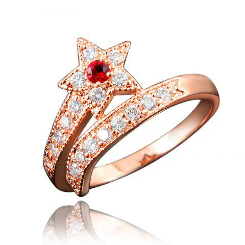 Top Quality 18K Gold Plated Rings For Women Star-Shaped Jewelry Ring for Wedding - multicolor F US 9