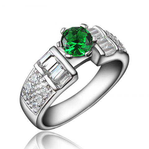 18K Gold Plated Ring for Women Rhinestone Wedding Jewelry Ladies Female - GREEN US 7