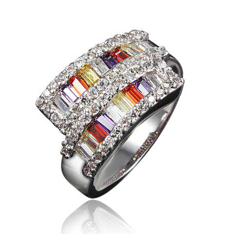 18K Gold Plated Ring Wedding Multicolor Cubic Zircon Ring for Women - SILVER US 8