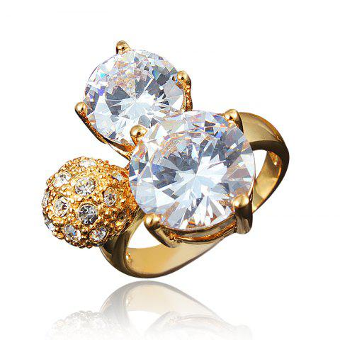 Zircon 18K Gold Plated Rings for Women Jewelry Crystals Wedding Rings Female - GOLD US 6