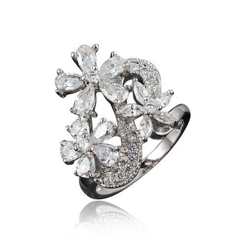 Zircon 18K Gold Plated Flower Rings for Women Jewelry Crystals Wedding Rings - SILVER US 9