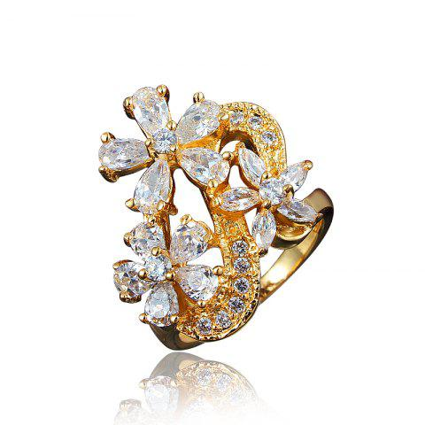 Zircon 18K Gold Plated Flower Rings for Women Jewelry Crystals Wedding Rings - GOLD US 7
