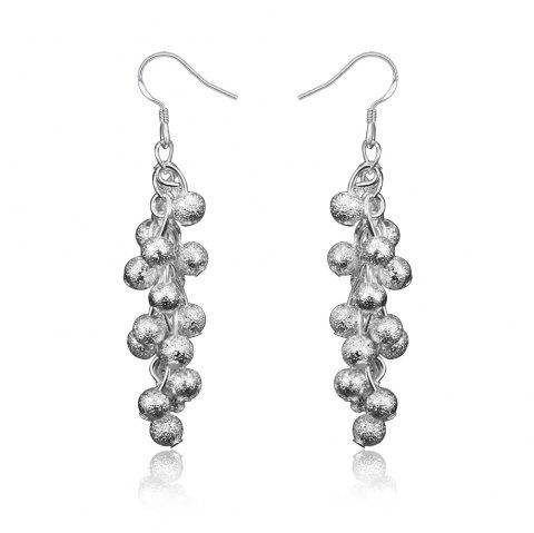 Women Plated with 925 Silver Earrings Frosted Grapes - SILVER