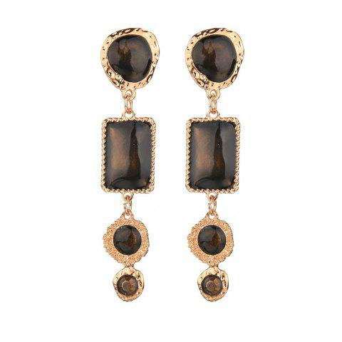 Multicolor Geometric Drop Earrings - BROWN 1 PAIR
