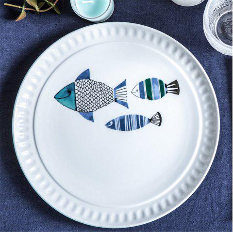 10.5 Inches Cartoon Fish Pattern Ceramic Dish Desserts Steak Fruit Food Plate - multicolor A 10.5 INCHES