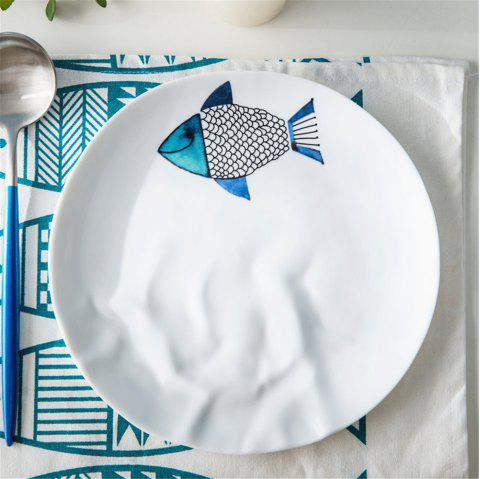 8.25 Inches Fish Patter Ceramic Dish Desserts Fruit Steak Plate Household - multicolor A 8.25 INCHES