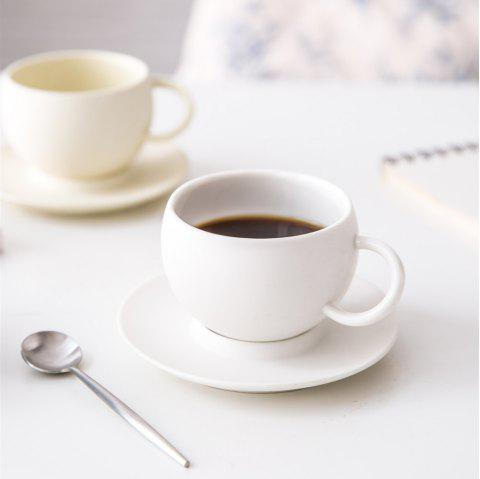 2PC Coffee Cup and Sancer Set Modern Style Afternoon Tea Cup Espresso Coffee Cup - CRYSTAL CREAM