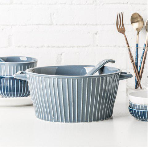 Modern Style 7INCH Ears Ceramic Bowl Noodle Soup Bowl Kitchen Tableware - GRAY GOOSE