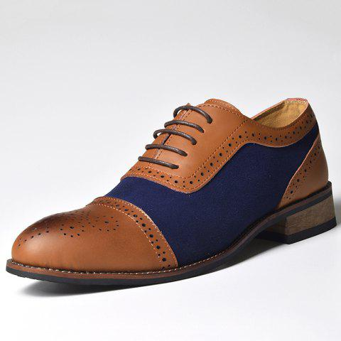 COSIDRAM Block Carved Leather Lace-Up Dress Shoes for Men - BROWN EU 40