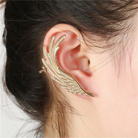 Fashion Ladies Exaggerate Feathers Wings and Earrings - GOLD