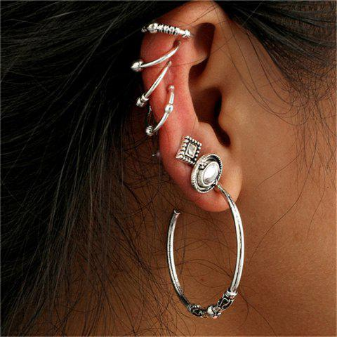 Creative Lady Baitao Big Circle Ear Nails 7 Pcs - SILVER