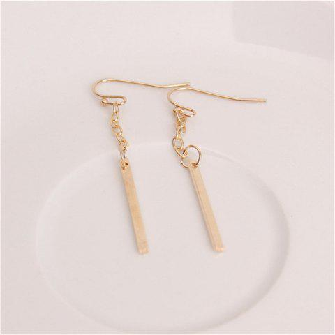 Lady Baitao's Simple One-Character Chain Earrings - GOLD