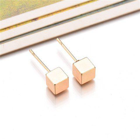 Fashion Lady's Cube Ear Studs - GOLD
