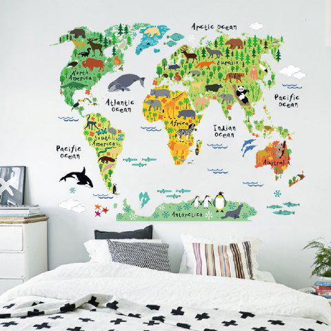 YEDUO Animals World Map Wall Decals for Kids Room Decorations Wall Sticker - multicolor