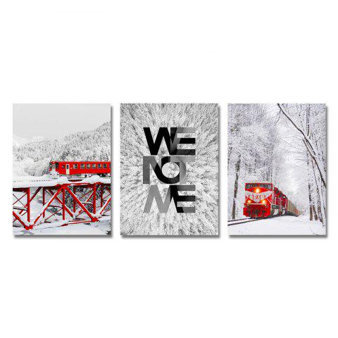 DYC 3PCS Red Train in Snow Print Art - multicolor