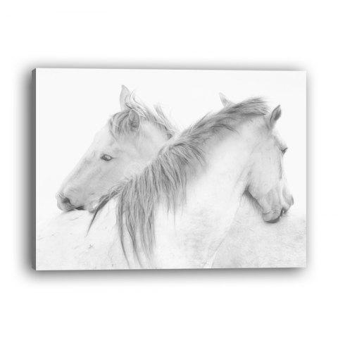 Modern Minimalist Nordic Living Room Bedroom Study White Horse Decoration Print - multicolor 20CMX30XN