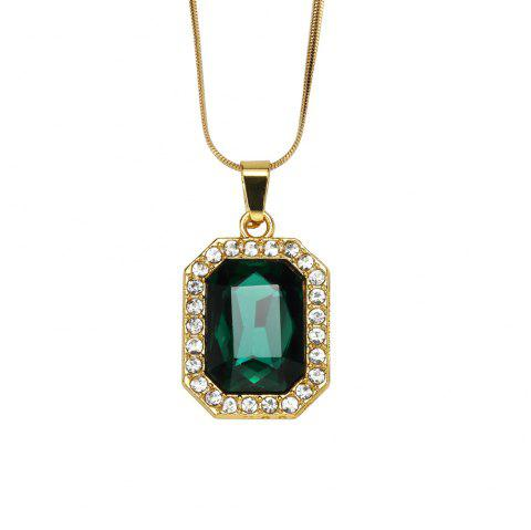 NYUK Men'S and Women'S Short Gem Style Necklace Accessories - GREEN 50CM