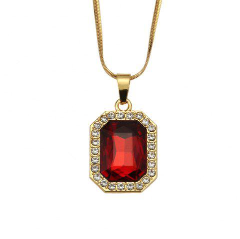 NYUK Men'S and Women'S Short Gem Style Necklace Accessories - RED 50CM