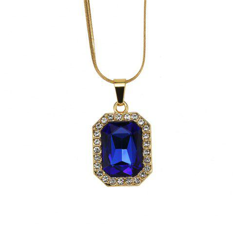 NYUK Men'S and Women'S Short Gem Style Necklace Accessories - BLUE 50CM