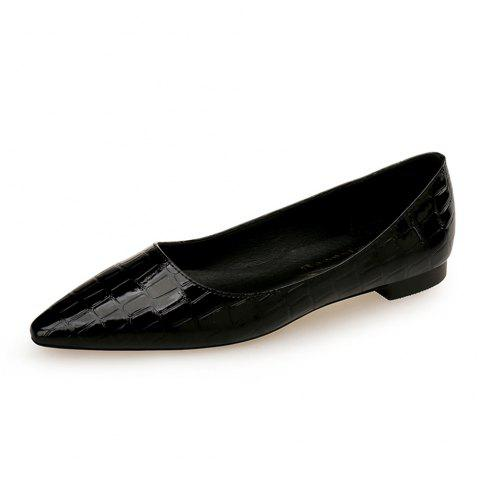 European Style Pointed Shallow Mouth Flat Heel Women'S Shoes - BLACK EU 38