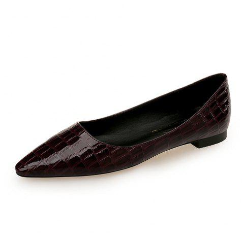 European Style Pointed Shallow Mouth Flat Heel Women'S Shoes - RED WINE EU 37