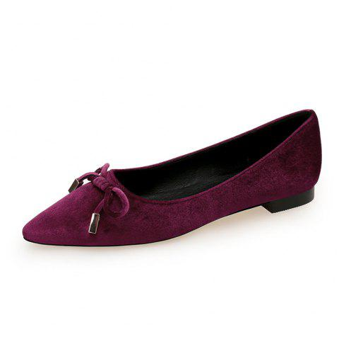Pointed Sweet Bow Flat Shoe - RED WINE EU 36
