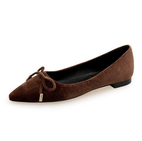 Pointed Sweet Bow Flat Shoe - BROWN EU 37