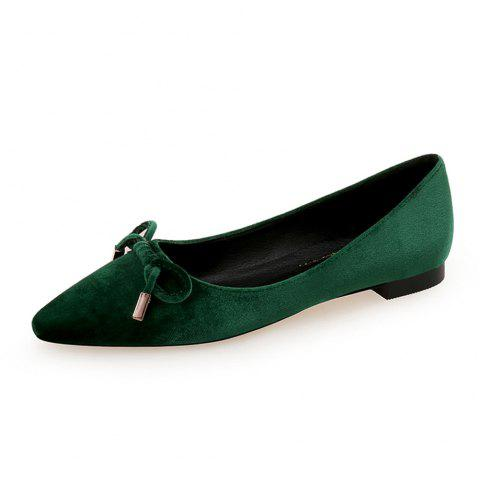 Pointed Sweet Bow Flat Shoe - DEEP GREEN EU 41