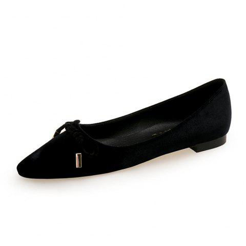 Pointed Sweet Bow Flat Shoe - BLACK EU 35