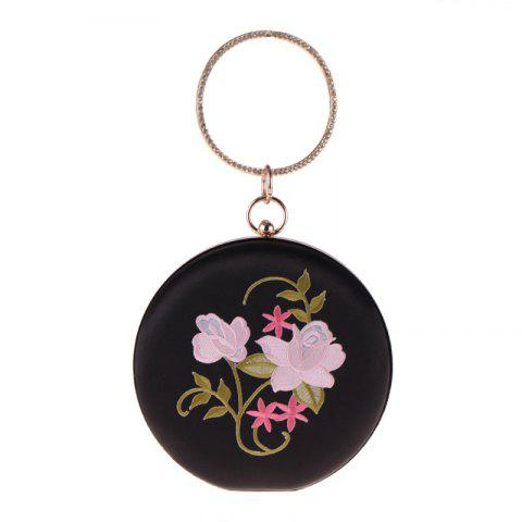 The New Round Hand Holding Flowers Embroidery Evening Bag Holding Evening Bags - BLACK