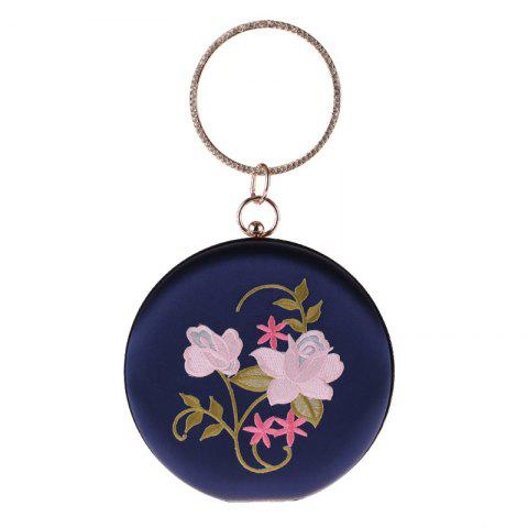 The New Round Hand Holding Flowers Embroidery Evening Bag Holding Evening Bags - DEEP BLUE