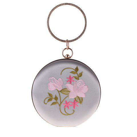 The New Round Hand Holding Flowers Embroidery Evening Bag Holding Evening Bags - SILVER