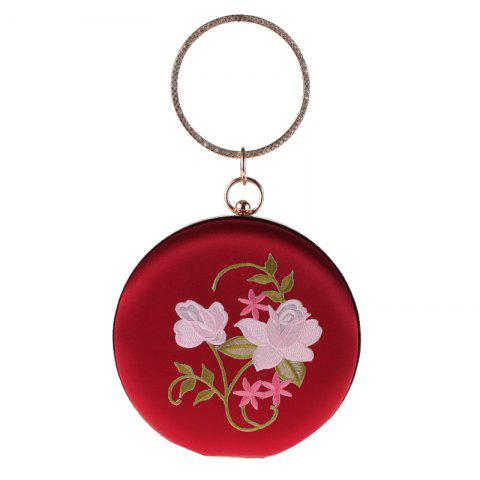 The New Round Hand Holding Flowers Embroidery Evening Bag Holding Evening Bags - RED WINE