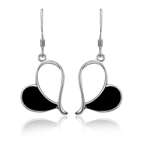 Drip Love Hollow-Out Earrings with 925 Silver Plated Earrings - BLACK