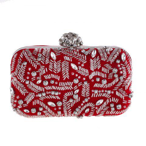 Fashion Flannelette Beaded Individuality Leisure Evening Bag Package Process - RED
