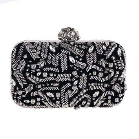 Fashion Flannelette Beaded Individuality Leisure Evening Bag Package Process - BLACK