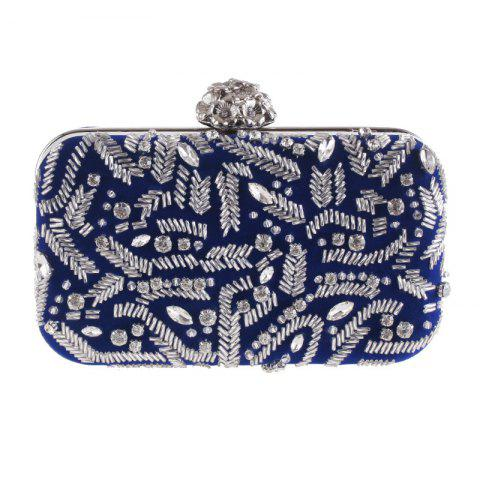 Fashion Flannelette Beaded Individuality Leisure Evening Bag Package Process - DEEP BLUE