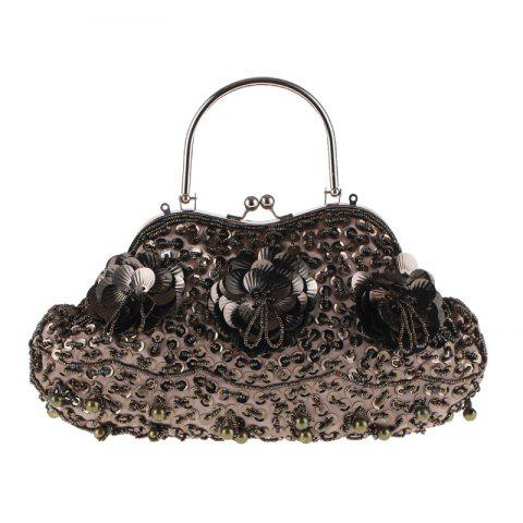Ladies Fashion Trend in Traditional Manual Dinner Package Delicate Beaded Bag - COFFEE