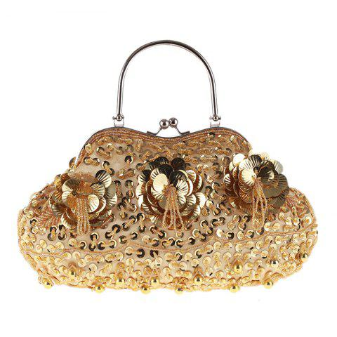 Ladies Fashion Trend in Traditional Manual Dinner Package Delicate Beaded Bag - GOLD